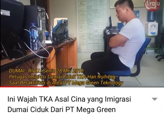 """Tonton """"Ini Wajah TKA Asal Cina yang Imigrasi Dumai Ciduk Dari PT Mega Green Teknology"""""""