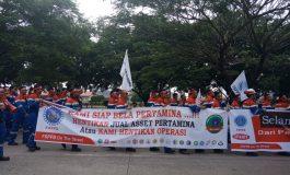 Demo Serikat Pekerja Pertamina Tolak Akuisisi